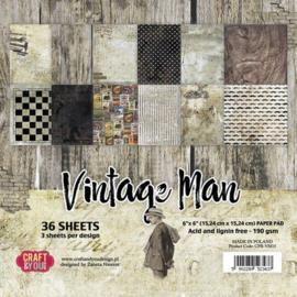 "CPB-VM15-Craft&You Vintage Man small paper pad-6""x6""-36 vel"