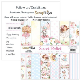 117072/0043-ScrapBoys Sweet Ballet paperpad 12 vl+cut out elements-DZ SWBA-10 190gr 20,3x20,3cm