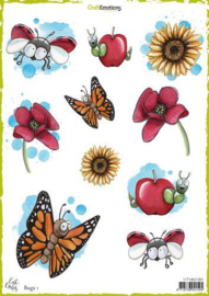 117140/1301- CraftEmotions Decoupage Bögen Bugs 1-Carla Creaties