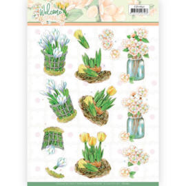 CD11631 - 3D cutting sheet - Jeanine's Art Welcome Spring - Yellow Tulips