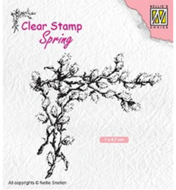 SPCS009-Corner with willow catkins-Nellie's Choice clear stamp