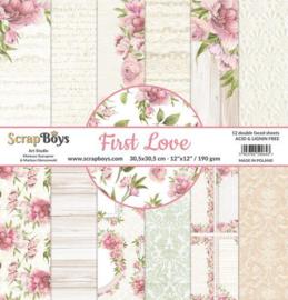 ScrapBoys First Love paperset 12 vl+cut out elements-DZ FILO-06 190gr 30,5x30,5cm