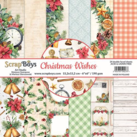 117072/0036-ScrapBoys Christmas Wishes paperpad 24 vl+cut out elements-DZ CHWI-09 190gr 15,2 x 15,2cm