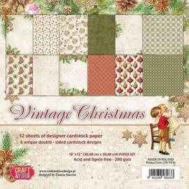 "CPS-VC30-Craft&You Vintage Christmas Big Paper Set 12""x12""-30,48 cmx30,48cm-12 vel"