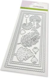 115633/1203-CraftEmotions Die - Slimline scalop - Xmas floristics Card 27,5x11cm Die 21x9,8cm