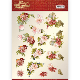 CD11504-3D cutting sheet - Precious Marieke - Touch of Christmas - Pink Flowers