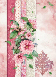 DFSA4415 - Stamperia Rice Paper Flowers For You Pink