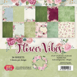 CPB-FV15-Craft&You Flower Vibes small paper pad 6x6 36 vel