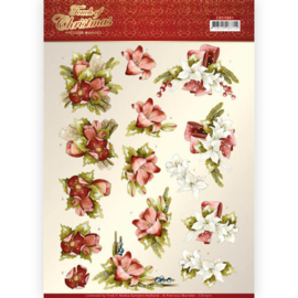 CD11501-3D cutting sheet - Precious Marieke - Touch of Christmas - Red Flowers