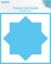 MMPCS001-Nellie's Choice Precision stencils 8-Punkt Kreis-190x190mm