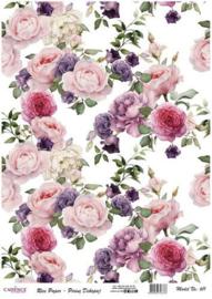 111325/0611-Cadence rijstpapier vintage rozen roze en lila Model No: 611-30x42cm