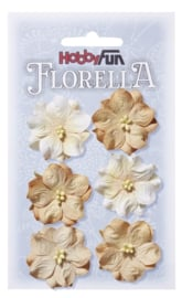 3866 028-Hobbyfun Florella Bloemen- ca. 3,5 cm-Beige