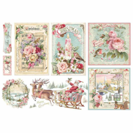 DFS411-Stamperia Rice Paper- 48x33cm -Pink Christmas