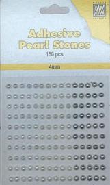 APS407-Nellie's Choice Plak parels 4mm Wit - Ivoor - Zilver