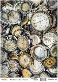 111325/0546-Cadence rijstpapier oude horloges Model No: 546 30x42cm