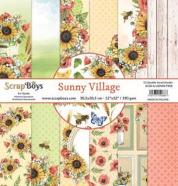 117072/0033-ScrapBoys Sunny Village paperset 12 vl+cut out elements-DZ SUVI-06 190gr 30,5 x 30,5cm
