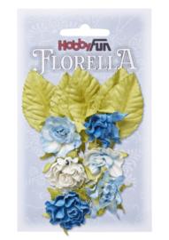 3866089-FLORELLA-Blüten&Blätter blau, 3cm