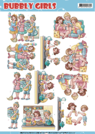 CD11216-3D Knipvel Yvonne Creations - Bubbly Girls - Round the house