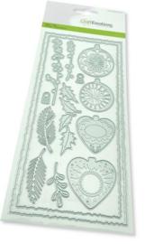 115633/1201-CraftEmotions Die - Slimline deckle - Christmas baubles- Card 27,5x11cm- Die 21x9,8cm