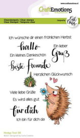 130501/1520-CraftEmotions clearstamps A6 - Hedgy Text (DE) Carla Creaties