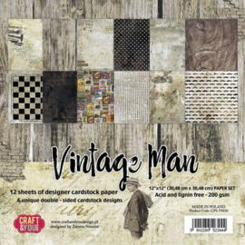 "CPS-VM30-Craft&You Vintage Man BIG Paper Set- 12""x12""- 12 vel"