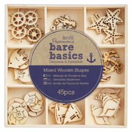 PMA 174726- bare basics mixed wooden shapes-nautical-40 pcs