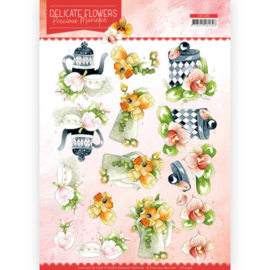 CD11490-3D Cutting sheet - Precious Marieke - Delicate Flowers - Teapot
