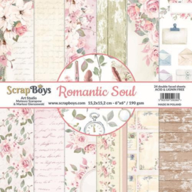 117072/0040-ScrapBoys Romantic Soul paperpad 24 vl+cut out elements-DZ ROSO-09 190gr 15,2 x 15,2cm