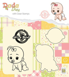 DDCS012-DADA Die with clear stamp-It's a girl-Crawling
