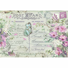 DFS417-Stamperia Rice Paper- 48x33- Violets & Butterfly