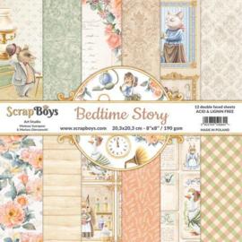 117072/0052-ScrapBoys Bedtime story paperpad 12 vl+cut out elements-DZ BEST-10- 190gr -20,3x20,3cm