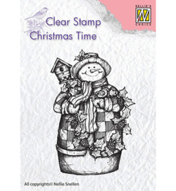 CT025-Snowman with birdhouse-Nellie's Choice clear stamp