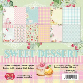 117020/1130-Craft&You Sweet Dessert Paper Set 12x12 12 vel CPS-SD30