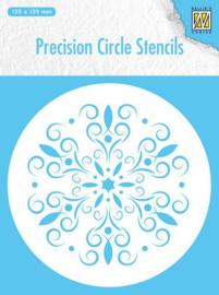 MMPCS004-Nellie's Choice Precision stencils Rond stencil bloem-135x135mm