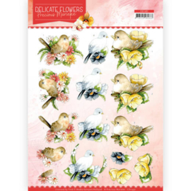 CD11491-3D Cutting sheet- Precious Marieke - Delicate Flowers - Birds