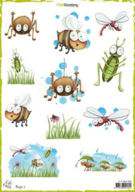 117140/1302-CraftEmotions Decoupage vellen Bugs 2 -Carla Creaties
