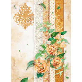 DFSA4416 - Stamperia Rice Paper Flowers For You Ocher