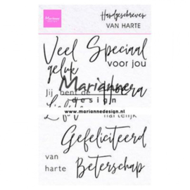 CS1049- Marianne Design - Clear stamps - handgeschreven van harte