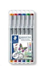 30805-SSB6- Staedtler pigment liner fineliner - 0,5 mm- 6 kleuren