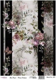 111325/0599-Cadence rijstpapier bloemen vlinder roze Model No: 599 30x42cm