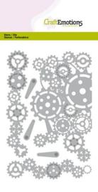 115633/0522-CraftEmotions Die - tandwielen randen en hoek Card 10,5x14,8cm