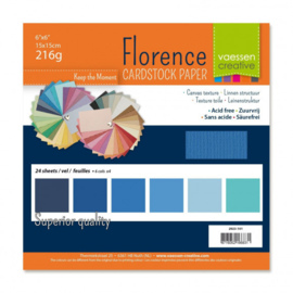 2923-101-Florence • Cardstock multipack 15,2x15,2cm Blauw