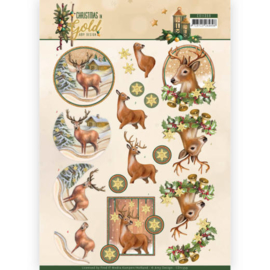 CD11359-3D knipvel-Amy Design-Christmas in Gold - Deers in Gold