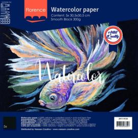 2911-9125-Florence • Aquarelpapier smooth Black 30,5x30,5cm 5pcs 300g