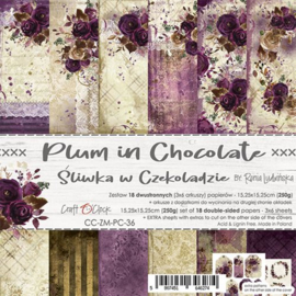 CC-ZM-PC-36-Paper Collection Set 15,25x15,25 Plum In Chocolate