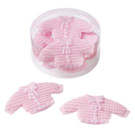 3860023-Gebreid vestje ca. 7,5 x 4 cm- roze-box met 10 st