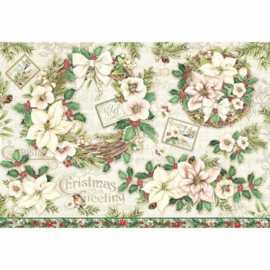 DFS414-Stamperia Rice Paper- 48x33cm- Garland & Flowers