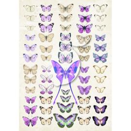LP-VT041 Scrapbooking paper - Vintage Time 041 - Lemoncraft - My sweet Provence - Violet butterflies