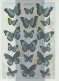 BOWOC 100-0003-KN blauwe vlinders metalic knipvel
