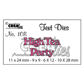 CLTD108-Crealies Engelse tekst snijmal no.108 high tea party
